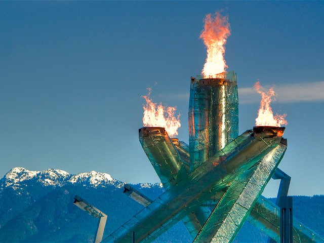 (The Olympic flame at Vancouver's Winter Olympics)