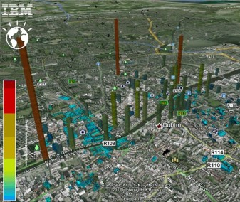 (Delay times at traffic junctions visualised by the Dublinked city information partnership.)