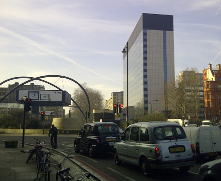"(The Old Street roundabout, around which London's ""Tech City"" cluster of technology companies has evolved)"