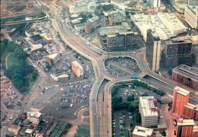 (Photo of Masshouse Circus, Birmingham, a concrete urban expressway that strangled the citycentre before its redevelopment in 2003, by Birmingham City Council)