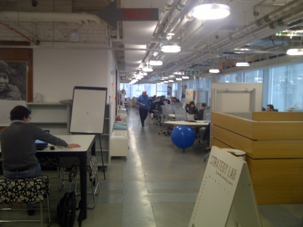 (The collaborative working space of Hub Westminster which is constantly refactored to support new uses, exploiting furniture and spatial technology laser-cut from digital designs)