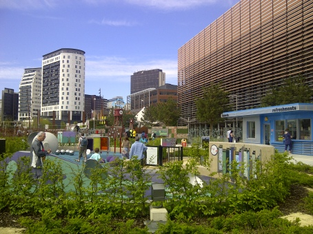 (Visitors to Birmingham's new Eastside city park which connects the city centre and train stations to the Eastside learning district)