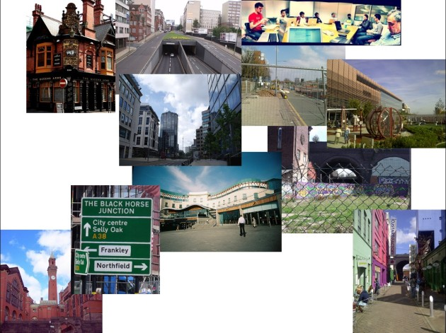 (A collage of photographs of some of Birmingham's value-creating districts, placed in relation to some of the spatial characteristics of the city that divide them).