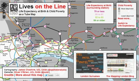 "(""Lives on the Line"" by James Cheshire at UCL's Centre for Advanced Spatial Analysis, showing the variation in life expectancy and correlation to child poverty in London. From Cheshire, J. 2012. Lives on the Line: Mapping Life Expectancy Along the London Tube Network. Environment and Planning A. 44 (7). Doi: 10.1068/a45341)"
