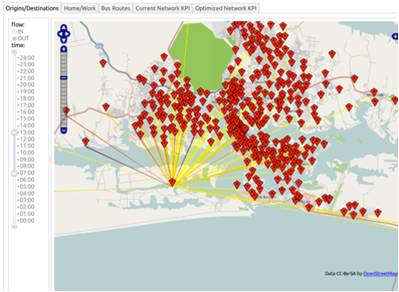 (The origins and destinations of end-to-end journeys made in Abidjan, identified from anonymised SmartPhone GPS data)