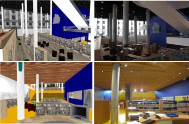 (Daden's visualisation of the new Library of Birmingham, created before construction started and used to familiarise staff with the new building they would be working in. Taken from Daden's brochure describing the work more fully).