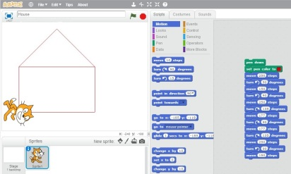 "(The programme I helped my 6-year old son write using MIT's ""Scratch"" language to draw a picture of a house)"