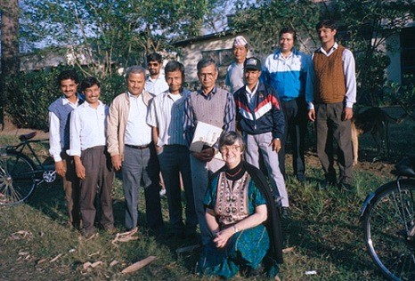 (Elinor Ostrom working with irrigation management in Nepal)