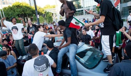 (Anti-Donald Trump protesters in San Jose, California in June. Trump supporters leaving a nearby campaign rally were attacked)